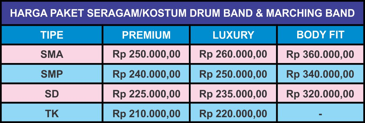 Harga Seragam Drumband 2018