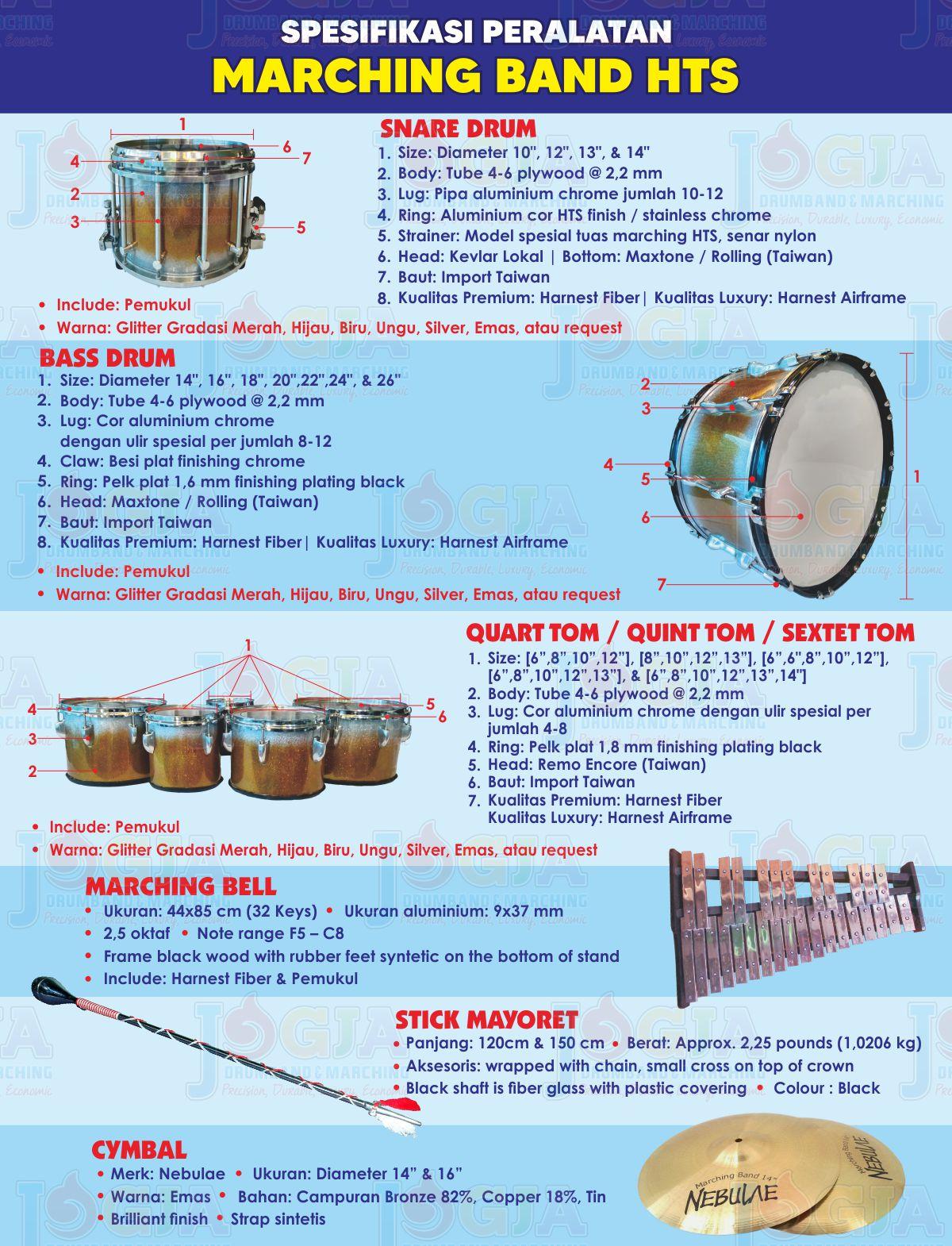 Spesifikasi Alat Marching Band HTS JD 2020