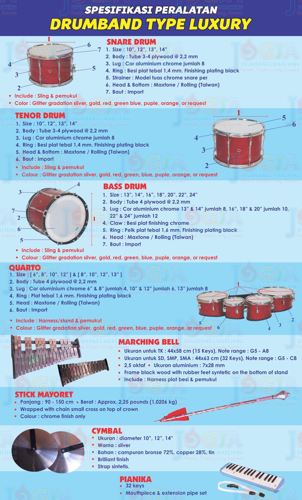 Spesifikasi Alat Drumband JD