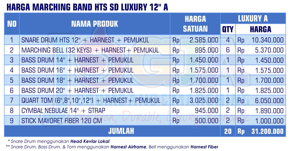 Harga Marching Band SD Luxury 12 A 2020 rev