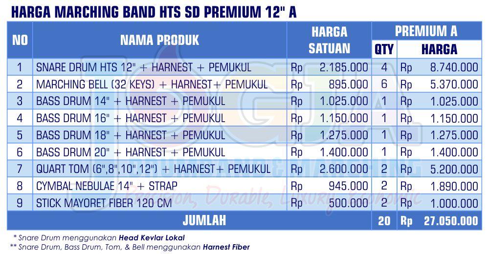 Harga Marching Band SD Premium 12 A 2020