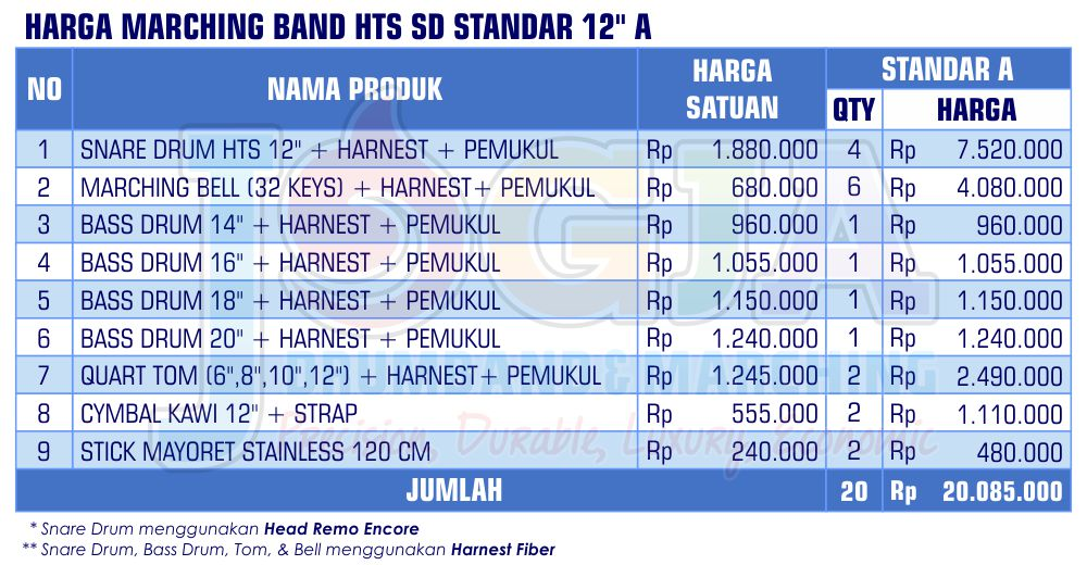 Harga Marching Band SD Standar 12 A 2020