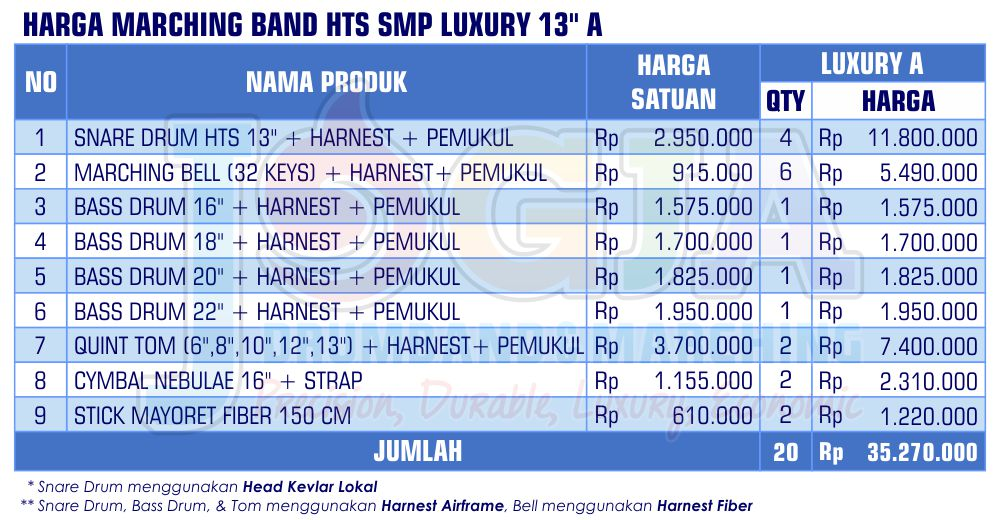 Harga Marching Band SMP Luxury 13 A 2020 rev