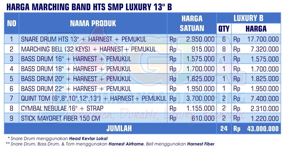 Harga Marching Band SMP Luxury 13 B 2020 rev