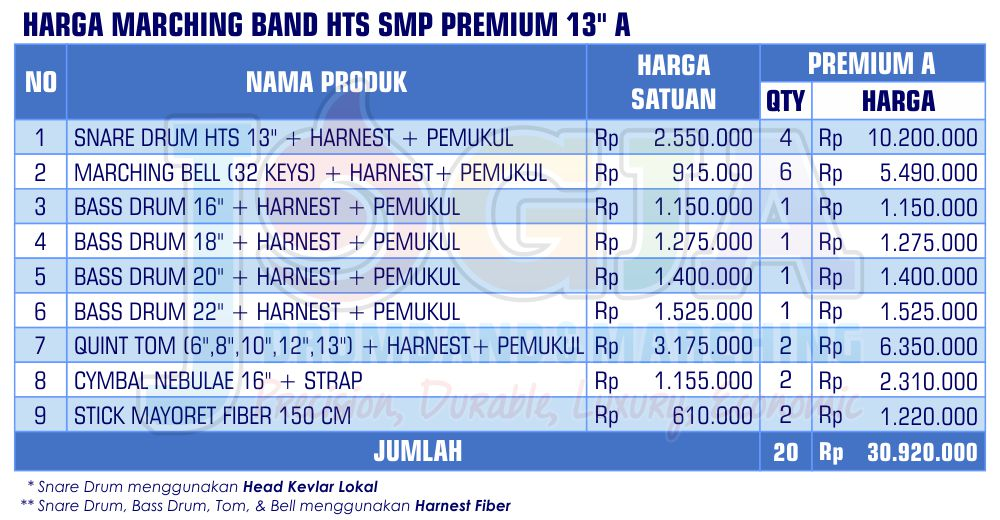 Harga Marching Band SMP Premium 13 A 2020