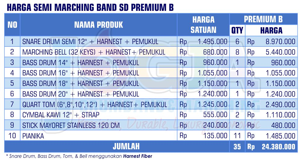 Harga Semi Marching SD Premium B 2020
