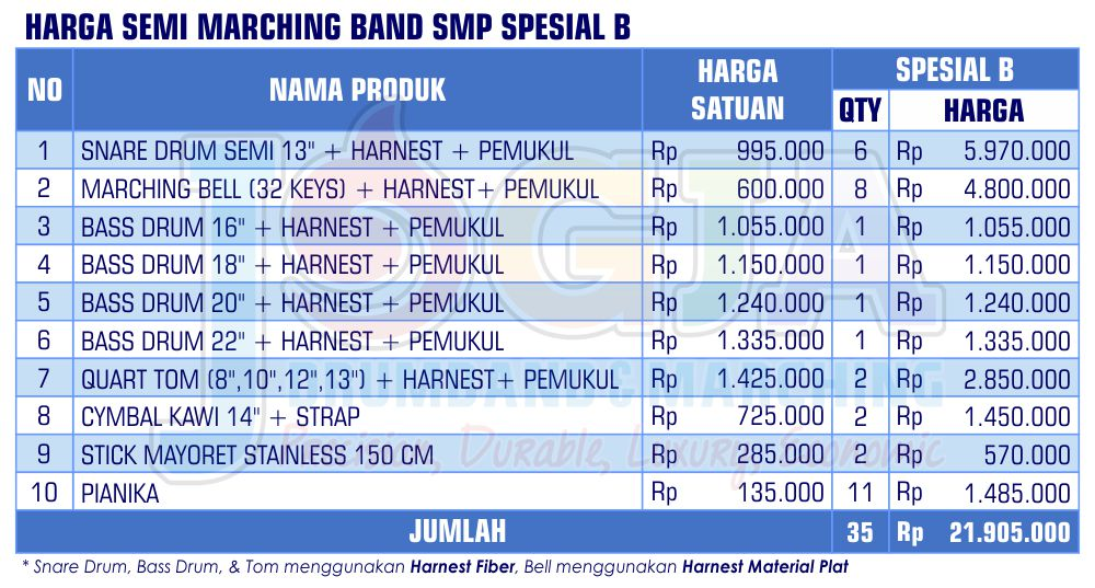 Harga Semi Marching SMP Spesial B 2020