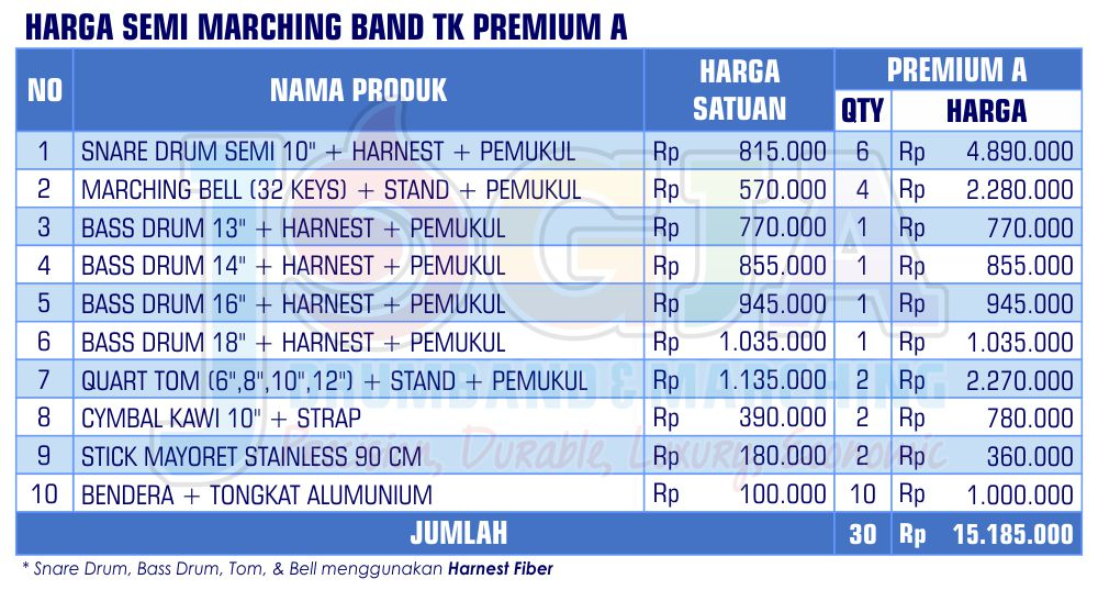 Harga Semi Marching TK Premium A 2020